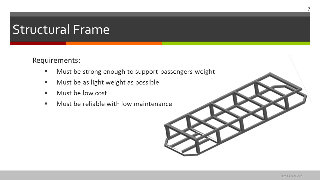 Structural Frame Requirements:  Must be strong enough to support passengers weight  Must be as light weight as possible  Must be low cost  Must be reliable with low maintenance 7 James McCord