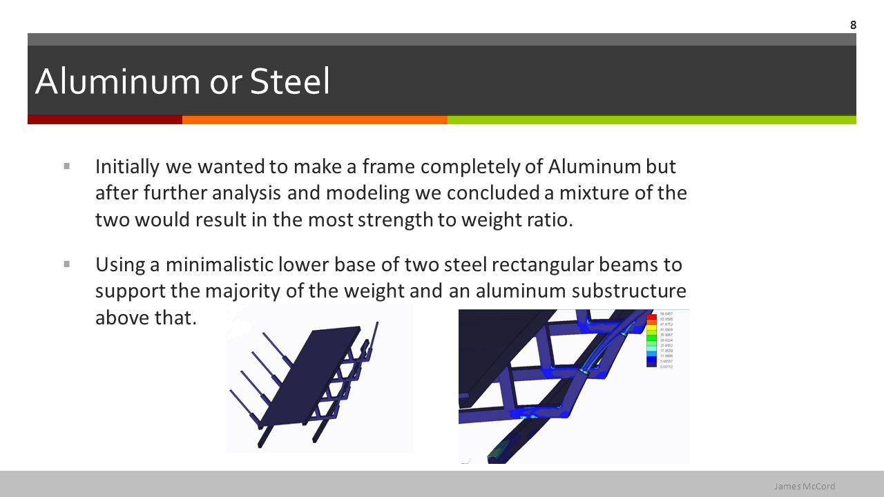 Aluminum or Steel  Initially we wanted to make a frame completely of Aluminum but after further analysis and modeling we concluded a mixture of the two would result in the most strength to weight ratio.
