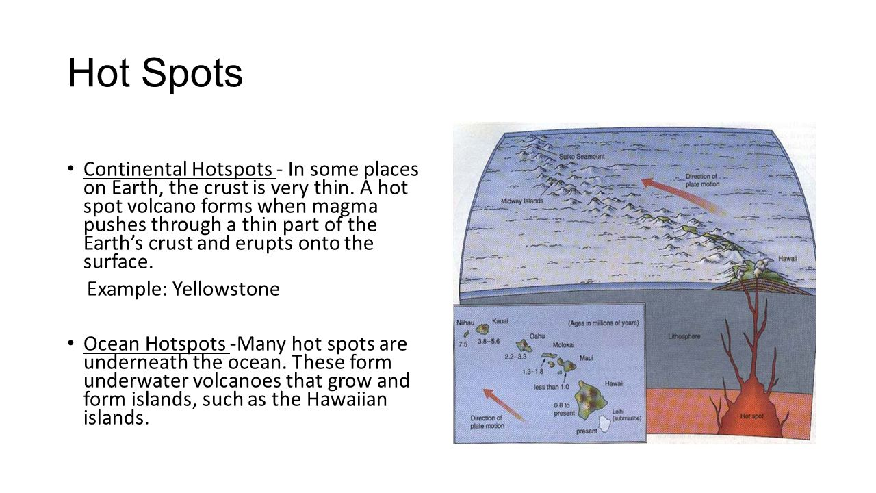 Hot Spots Continental Hotspots - In some places on Earth, the crust is very thin. A hot spot volcano forms when magma pushes through a thin part of th