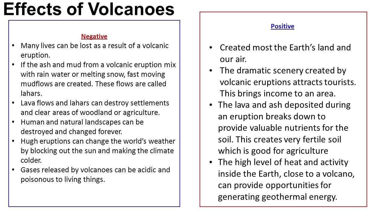 Effects of Volcanoes Negative Many lives can be lost as a result of a volcanic eruption. If the ash and mud from a volcanic eruption mix with rain wat
