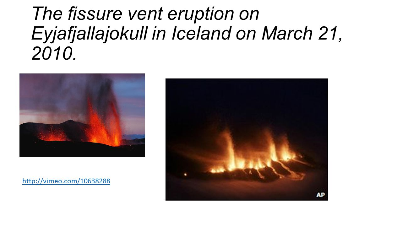 The fissure vent eruption on Eyjafjallajokull in Iceland on March 21, 2010. http://vimeo.com/10638288