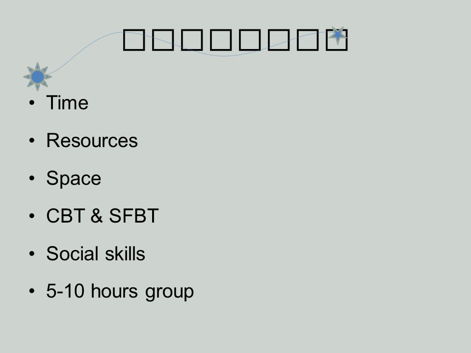 Research Time Resources Space CBT & SFBT Social skills 5-10 hours group