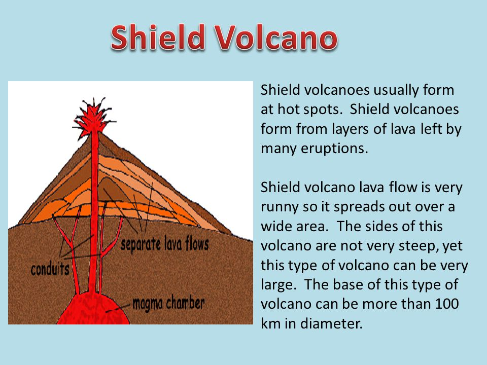 Shield volcanoes usually form at hot spots. Shield volcanoes form from layers of lava left by many eruptions. Shield volcano lava flow is very runny s