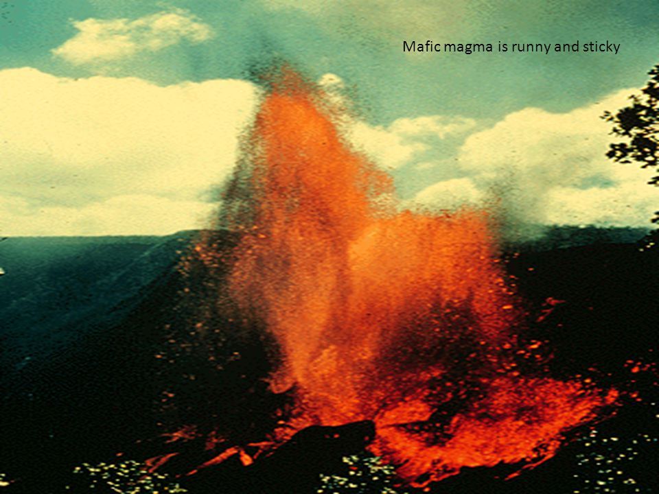 Mafic magma is runny and sticky