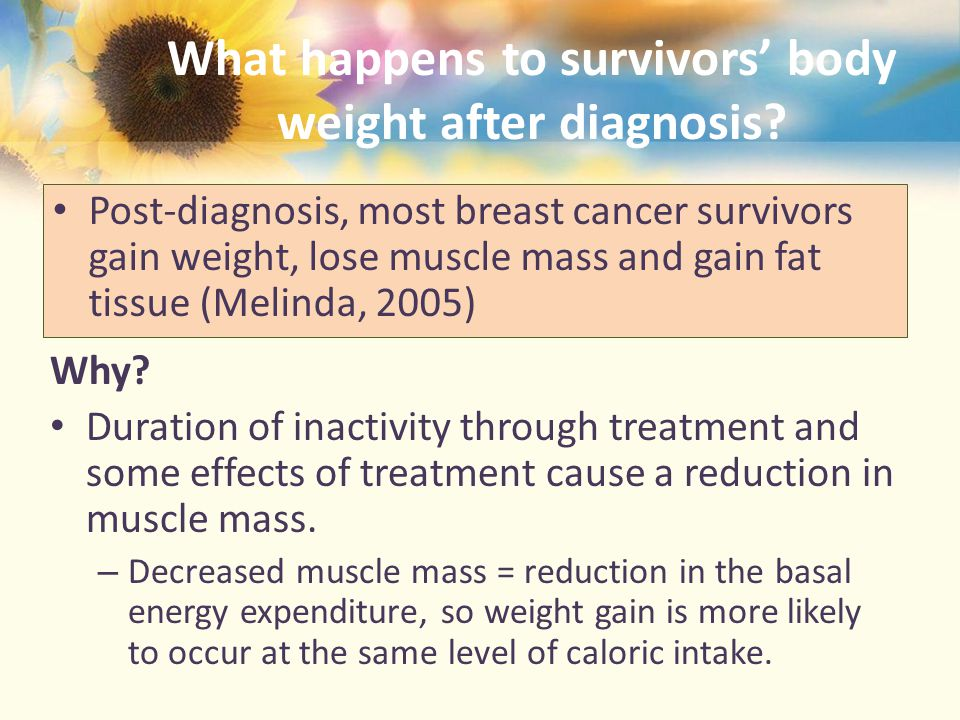 What happens to survivors' body weight after diagnosis.