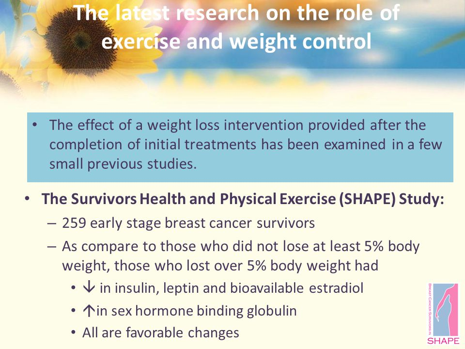 The latest research on the role of exercise and weight control The effect of a weight loss intervention provided after the completion of initial treatments has been examined in a few small previous studies.