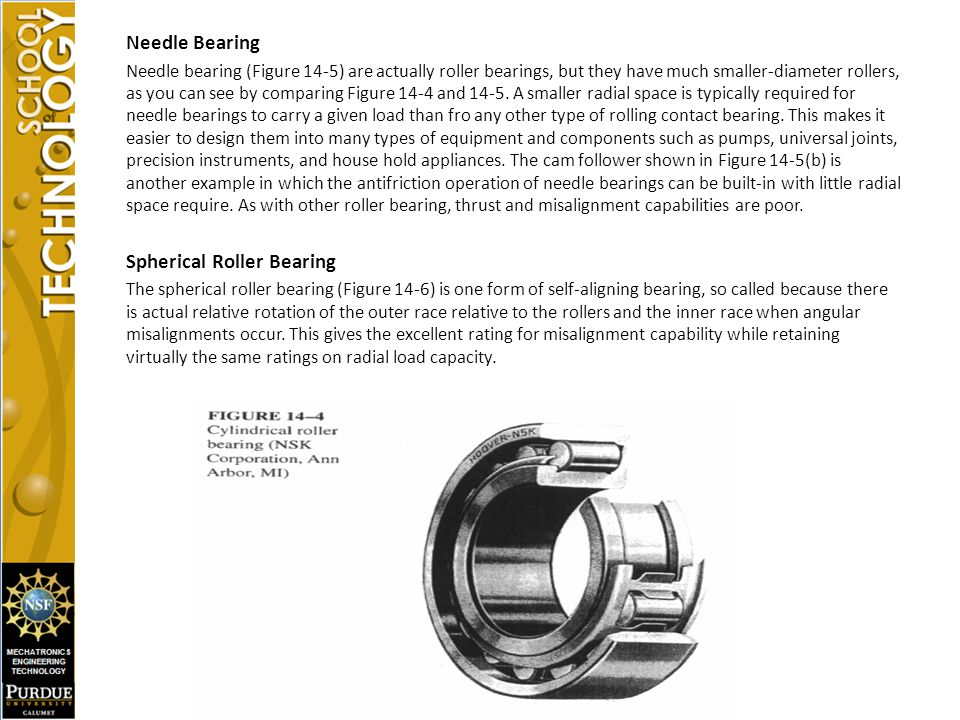 Needle Bearing Needle bearing (Figure 14-5) are actually roller bearings, but they have much smaller-diameter rollers, as you can see by comparing Figure 14-4 and 14-5.