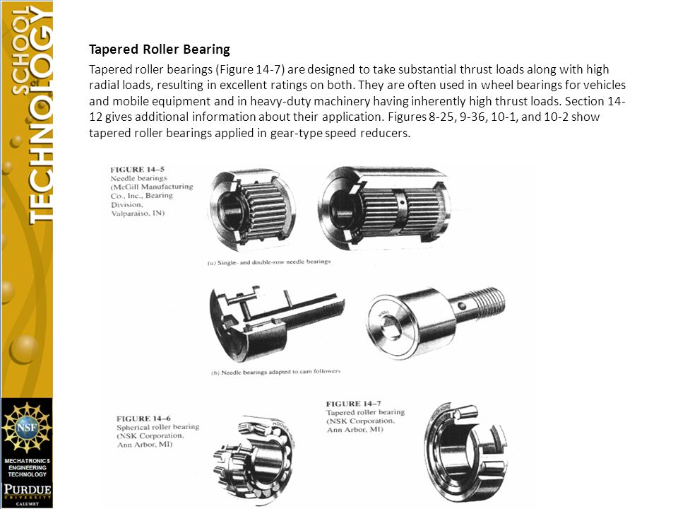 Tapered Roller Bearing Tapered roller bearings (Figure 14-7) are designed to take substantial thrust loads along with high radial loads, resulting in excellent ratings on both.