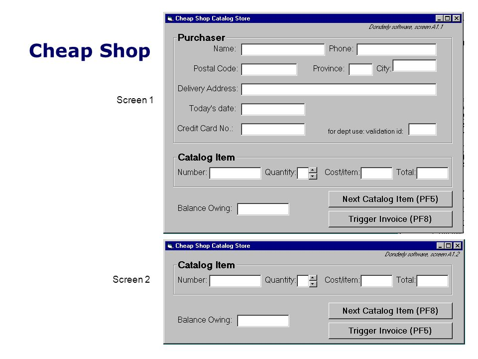 Screen 1 Screen 2 Cheap Shop