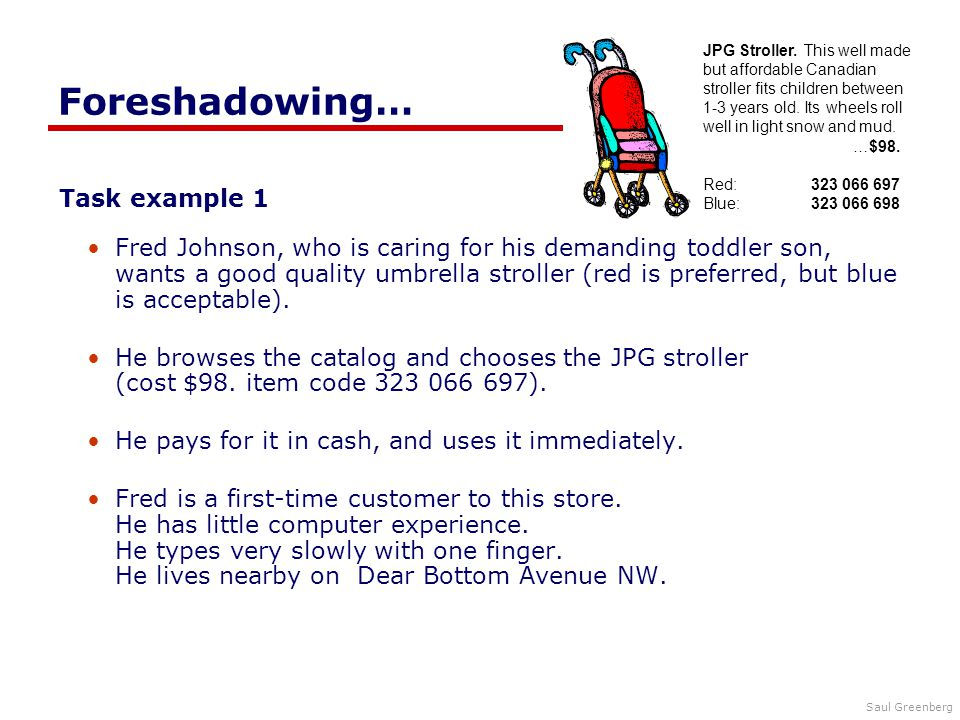 Saul Greenberg Foreshadowing… Task example 1 Fred Johnson, who is caring for his demanding toddler son, wants a good quality umbrella stroller (red is preferred, but blue is acceptable).