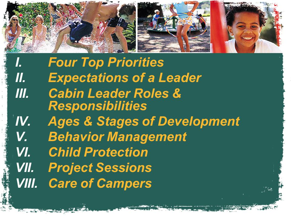 I.Four Top Priorities II.Expectations of a Leader III.Cabin Leader Roles & Responsibilities IV.Ages & Stages of Development V.Behavior Management VI.Child Protection VII.Project Sessions VIII.Care of Campers