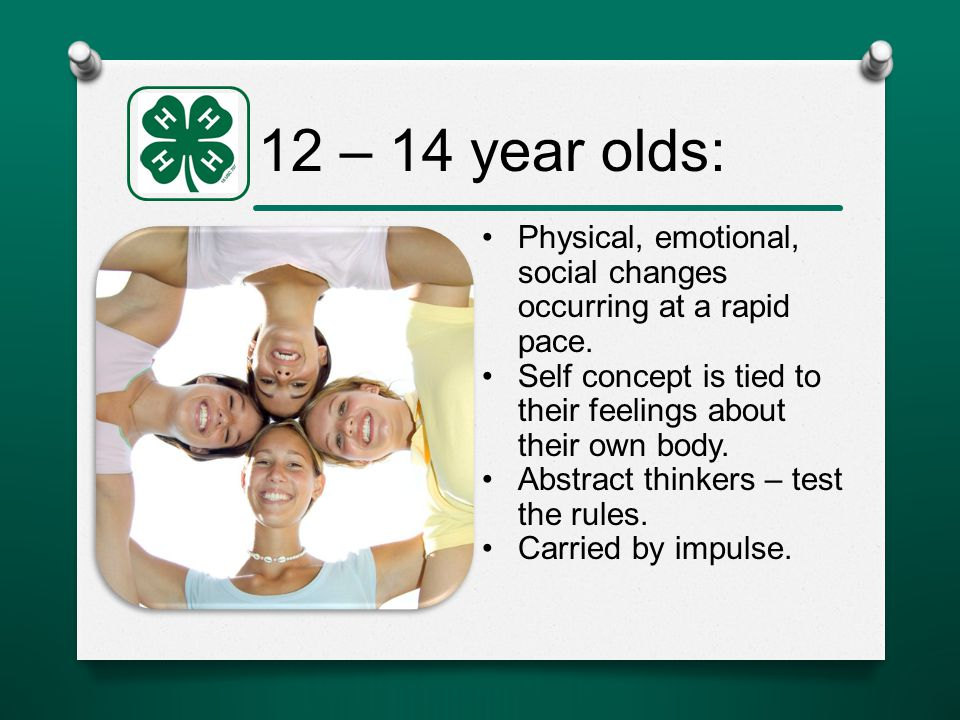 12 – 14 year olds: Physical, emotional, social changes occurring at a rapid pace.