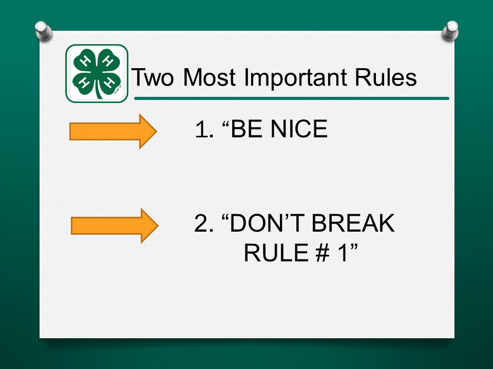 Two Most Important Rules 1. BE NICE 2. DON'T BREAK RULE # 1