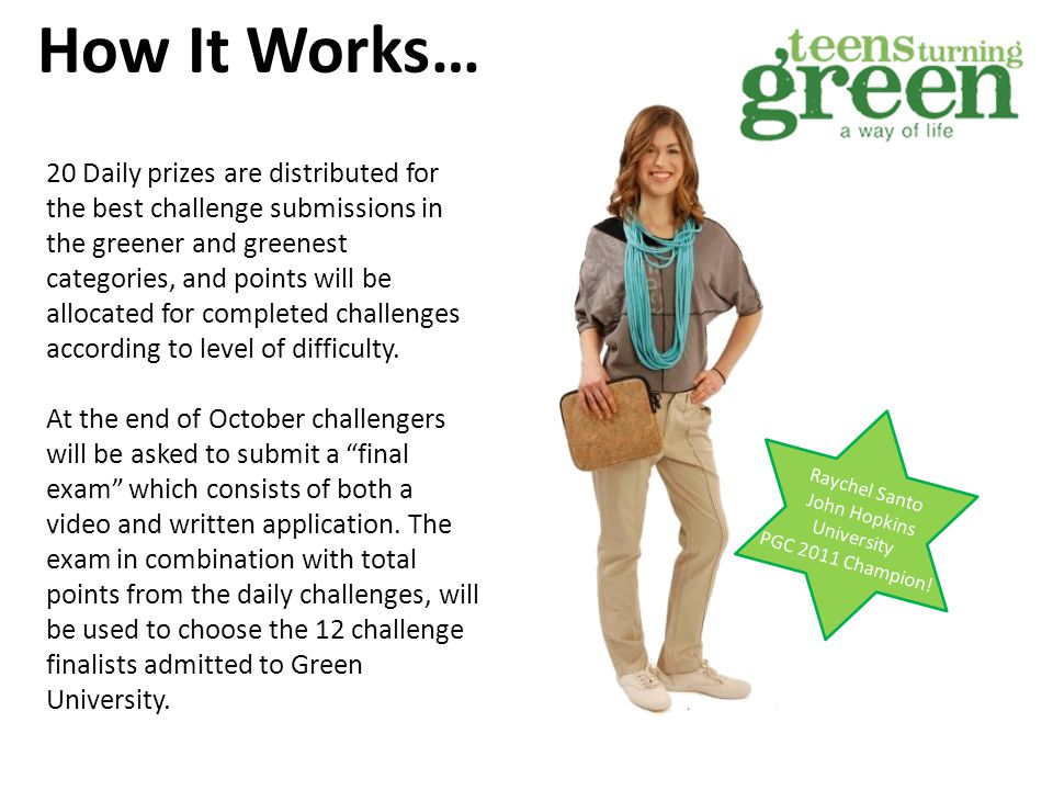 Green University 12 challenge finalists will be chosen to participate in Green U 2013.