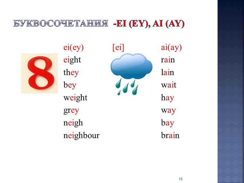 ei(ey)[ei]ai(ay) eightrain theylain beywait weighthay greyway neighbay neighbourbrain 16