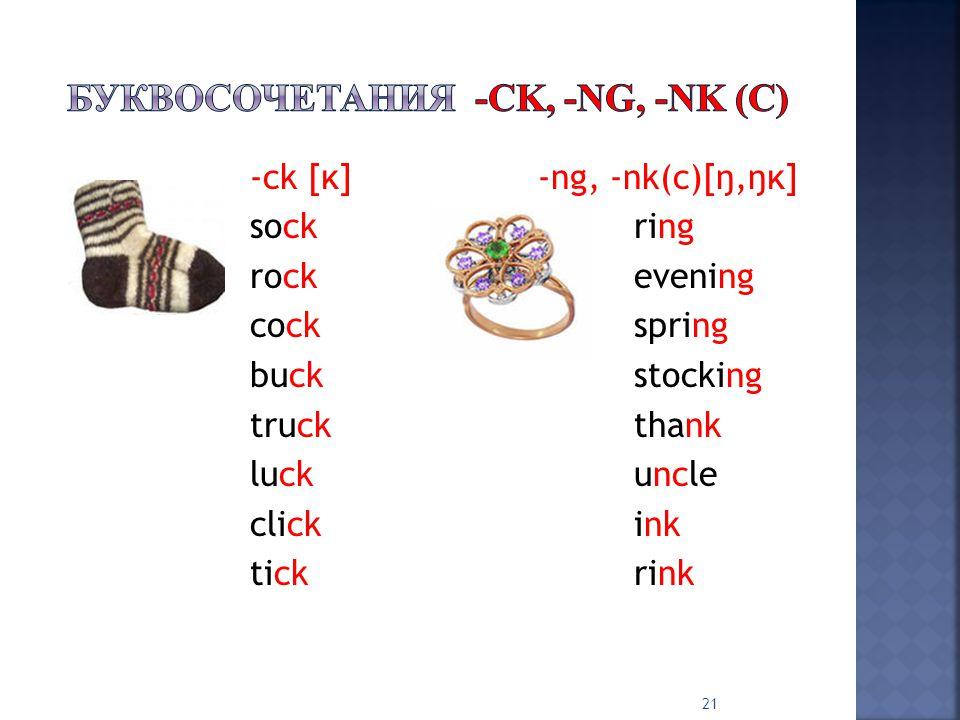 -ck [ĸ]-ng, -nk(c)[ŋ,ŋĸ] sockring rockevening cockspring buckstocking truckthank luckuncle clickink tickrink 21