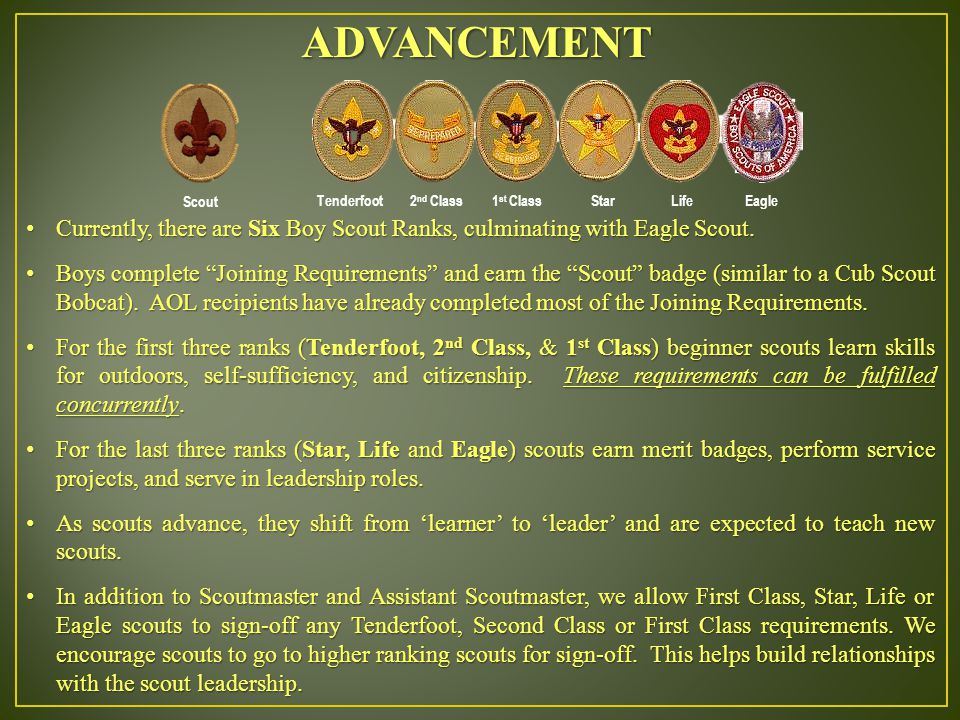 ADVANCEMENT Currently, there are Six Boy Scout Ranks, culminating with Eagle Scout.