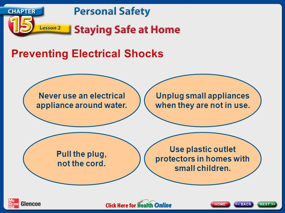 Preventing Electrical Shocks Never use an electrical appliance around water.