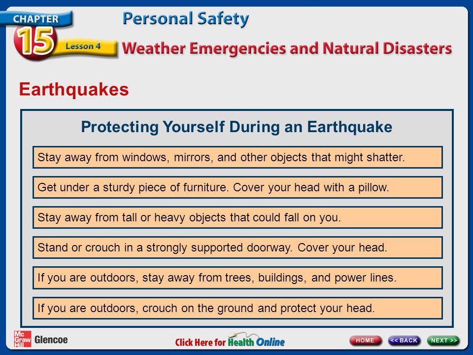 Earthquakes Protecting Yourself During an Earthquake Stay away from windows, mirrors, and other objects that might shatter.