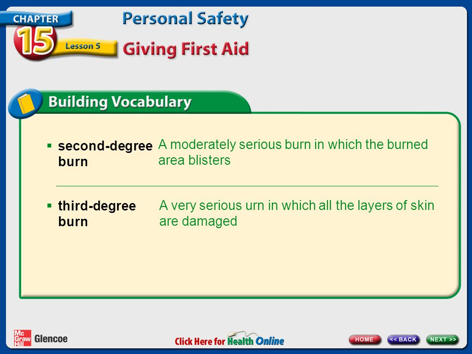  second-degree burn A moderately serious burn in which the burned area blisters A very serious urn in which all the layers of skin are damaged  third-degree burn