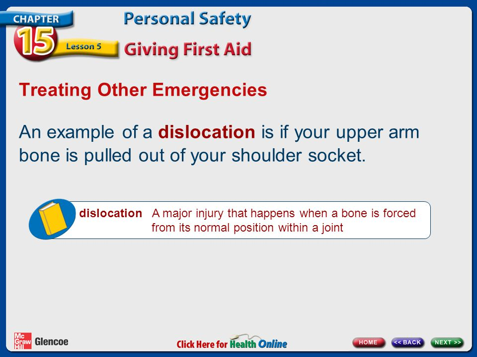 Treating Other Emergencies An example of a dislocation is if your upper arm bone is pulled out of your shoulder socket.