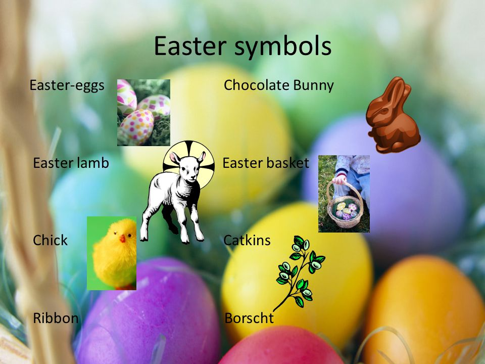 Easter symbols Easter-eggs Chocolate Bunny Easter lamb Easter basket Chick Catkins Ribbon Borscht