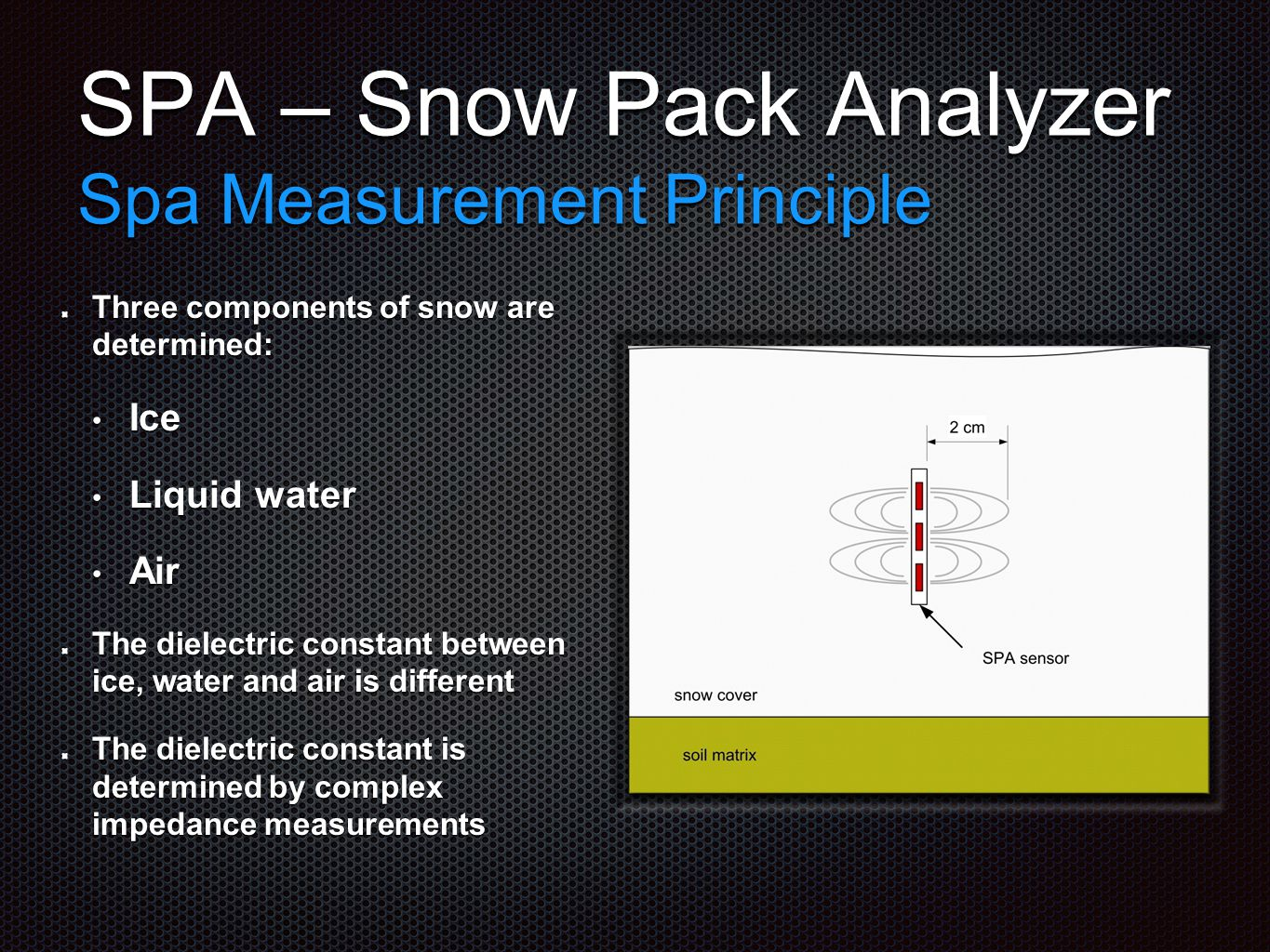 SPA – Snow Pack Analyzer Spa Measurement Principle Three components of snow are determined: Ice Ice Liquid water Liquid water Air Air The dielectric constant between ice, water and air is different The dielectric constant is determined by complex impedance measurements