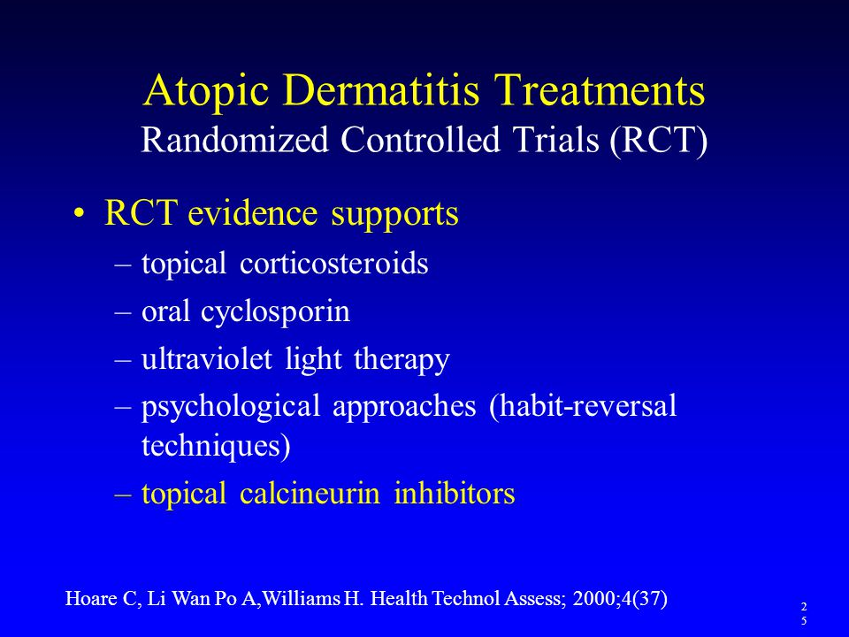 Atopic Dermatitis Treatments Randomized Controlled Trials (RCT) RCT evidence supports –topical corticosteroids –oral cyclosporin –ultraviolet light th