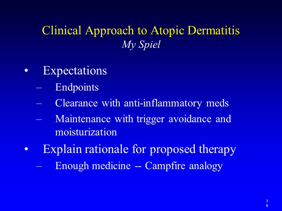 to Atopic Dermatitis Clinical Approach to Atopic Dermatitis My Spiel Expectations –Endpoints –Clearance with anti-inflammatory meds –Maintenance with