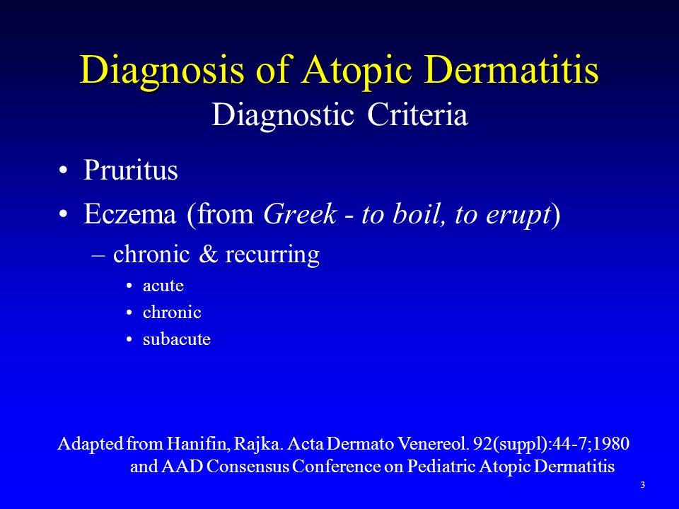 Diagnosis of Atopic Dermatitis Diagnosis of Atopic Dermatitis Diagnostic Criteria Pruritus Eczema (from Greek - to boil, to erupt) –chronic & recurrin