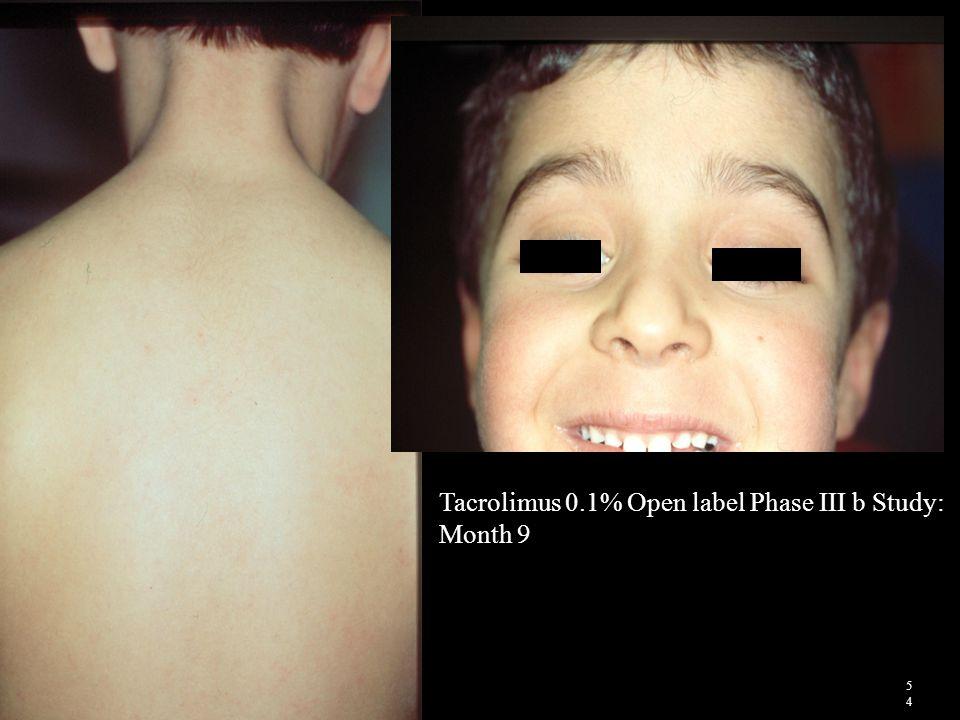 Tacrolimus 0.1% Open label Phase III b Study: Month 9 5454
