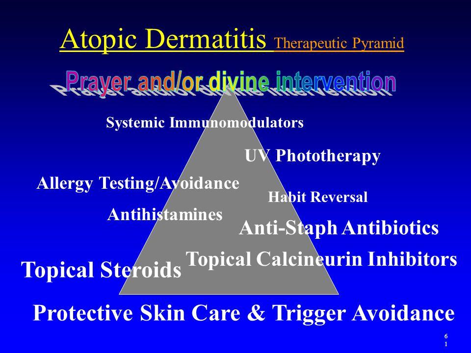 Atopic Dermatitis Therapeutic Pyramid Protective Skin Care & Trigger Avoidance Topical Steroids Anti-Staph Antibiotics Antihistamines Topical Calcineu