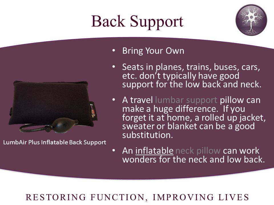 RESTORING FUNCTION, IMPROVING LIVES LumbAir Plus Inflatable Back Support Back Support Bring Your Own Seats in planes, trains, buses, cars, etc.