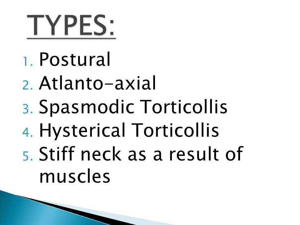 1. Postural 2. Atlanto-axial 3. Spasmodic Torticollis 4.