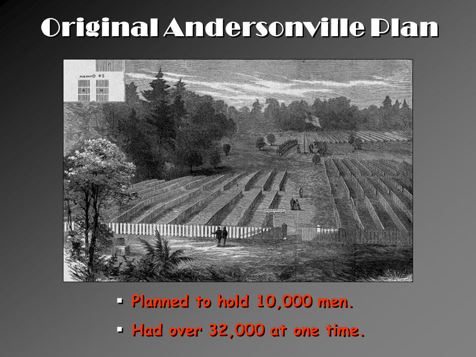 Original Andersonville Plan  Planned to hold 10,000 men.
