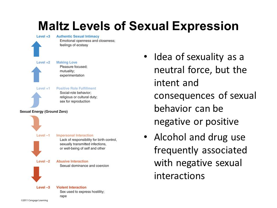 Maltz Levels of Sexual Expression Idea of sexuality as a neutral force, but the intent and consequences of sexual behavior can be negative or positive