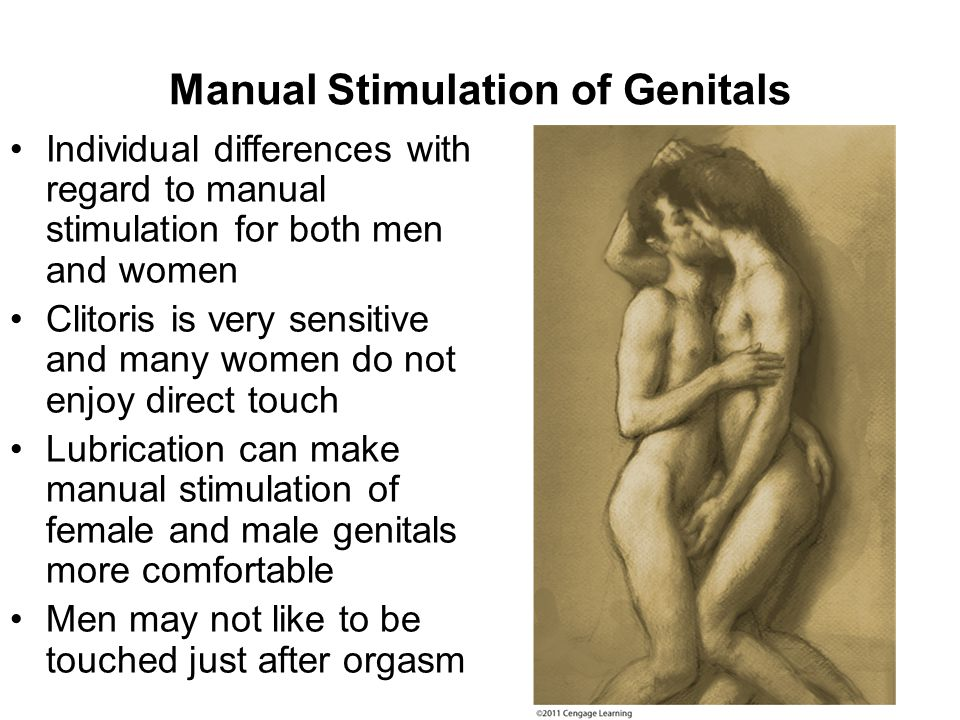 Manual Stimulation of Genitals Individual differences with regard to manual stimulation for both men and women Clitoris is very sensitive and many wom