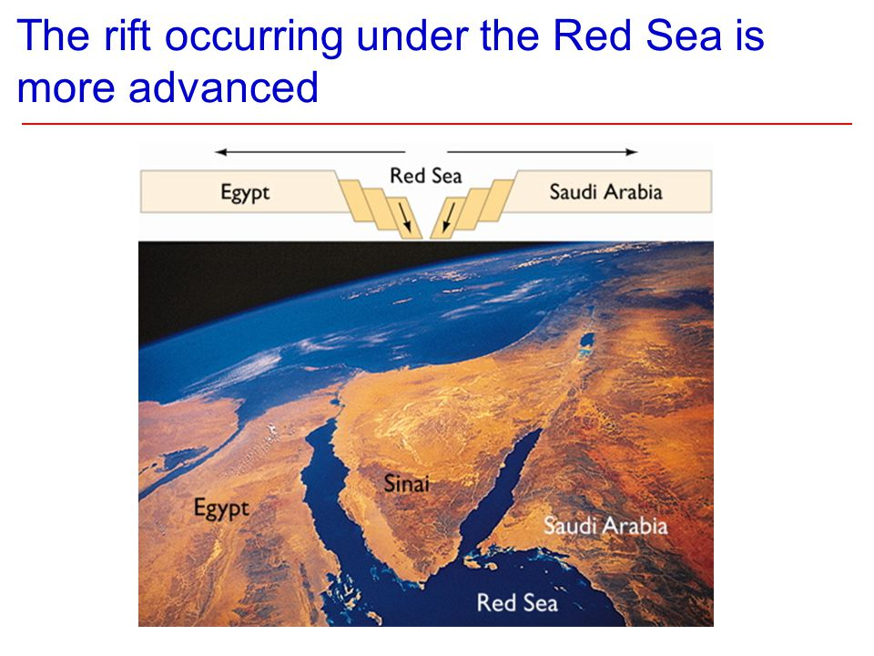The rift occurring under the Red Sea is more advanced