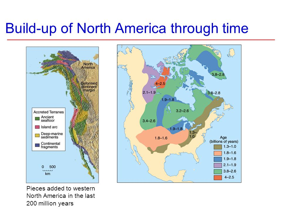 Build-up of North America through time Pieces added to western North America in the last 200 million years