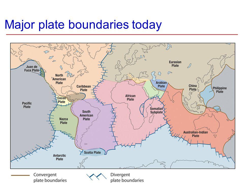 Major plate boundaries today
