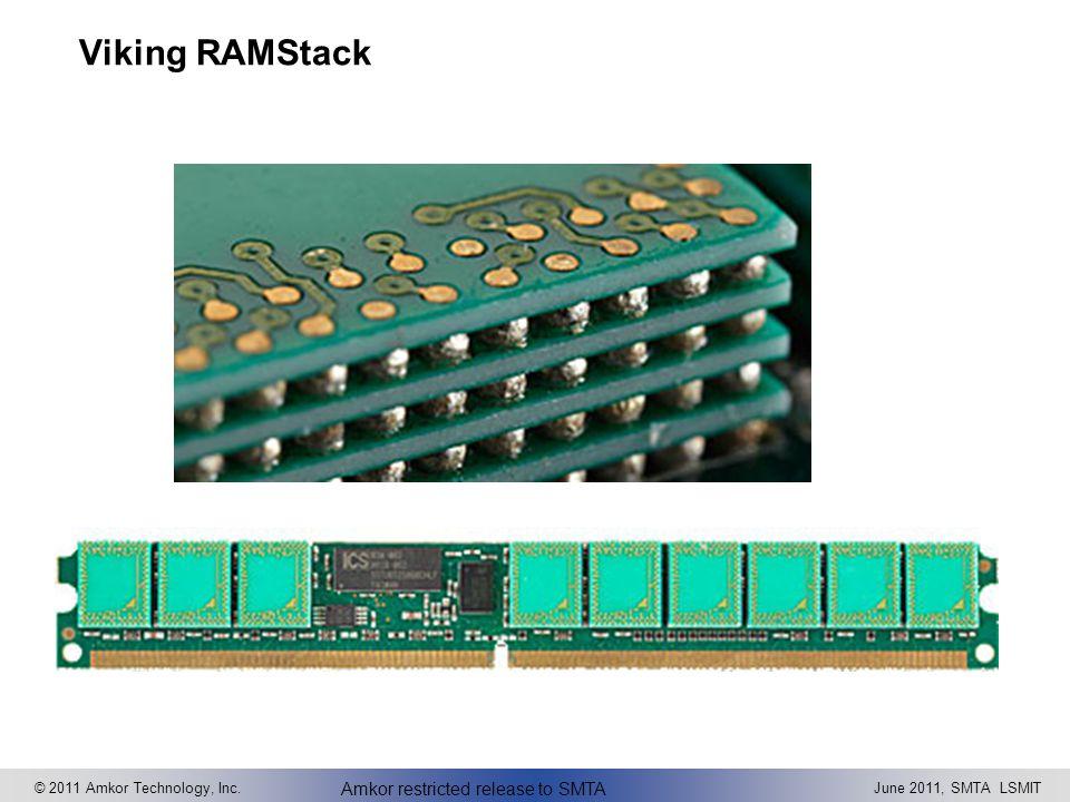 © 2011 Amkor Technology, Inc.June 2011, SMTA LSMIT Amkor restricted release to SMTA Viking RAMStack