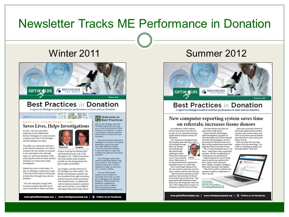 Newsletter Tracks ME Performance in Donation Winter 2011Summer 2012