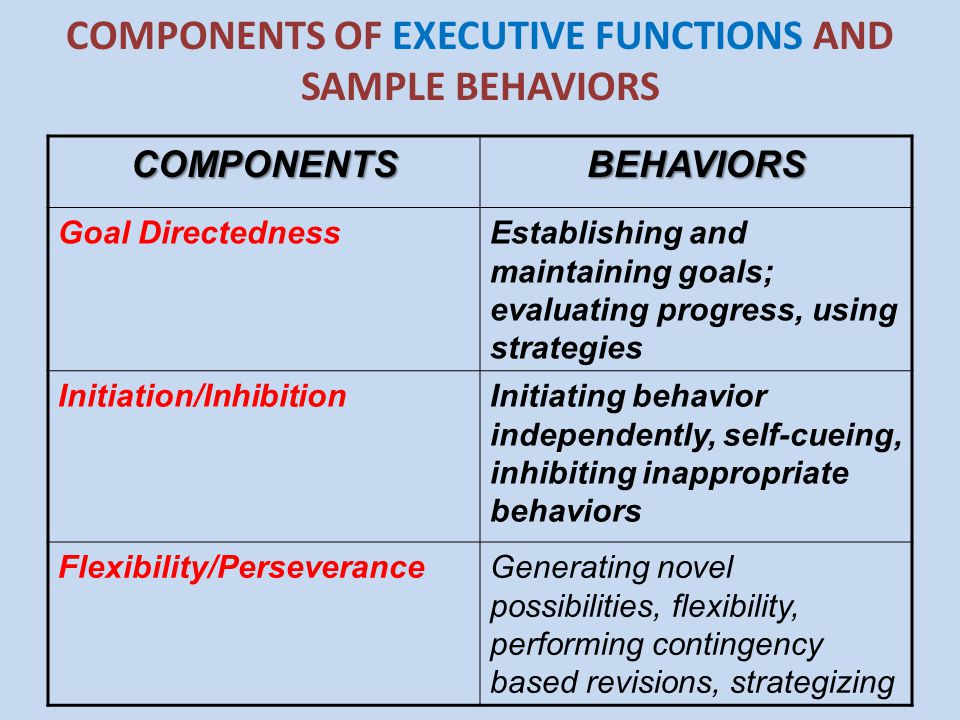 COMPONENTS OF EXECUTIVE FUNCTIONS AND SAMPLE BEHAVIORSCOMPONENTSBEHAVIORS Goal DirectednessEstablishing and maintaining goals; evaluating progress, us