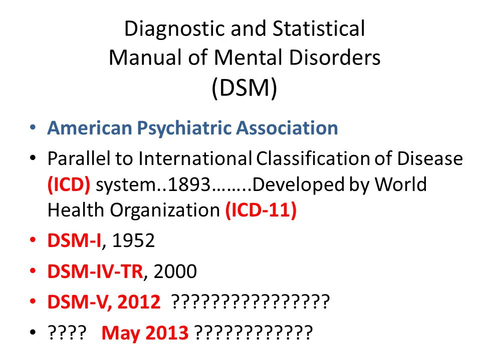Diagnostic and Statistical Manual of Mental Disorders (DSM) American Psychiatric Association Parallel to International Classification of Disease (ICD)