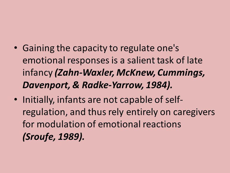 Gaining the capacity to regulate one's emotional responses is a salient task of late infancy (Zahn-Waxler, McKnew, Cummings, Davenport, & Radke-Yarrow