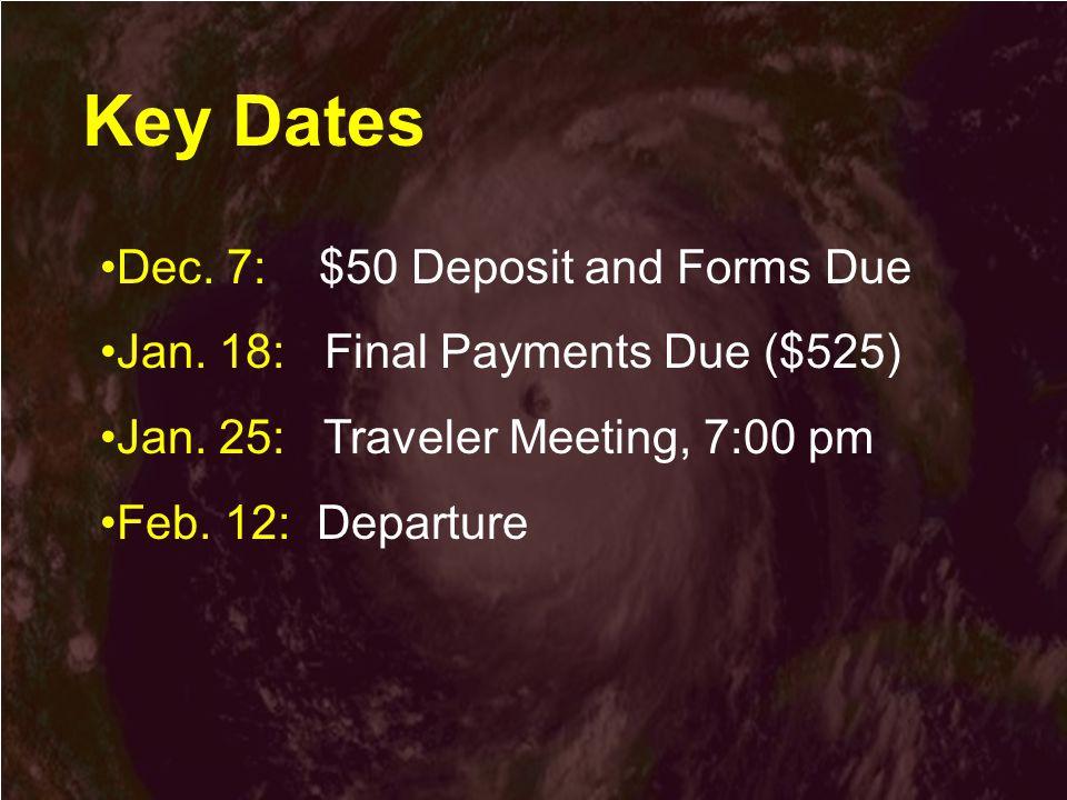 Key Dates Dec. 7: $50 Deposit and Forms Due Jan. 18: Final Payments Due ($525) Jan.