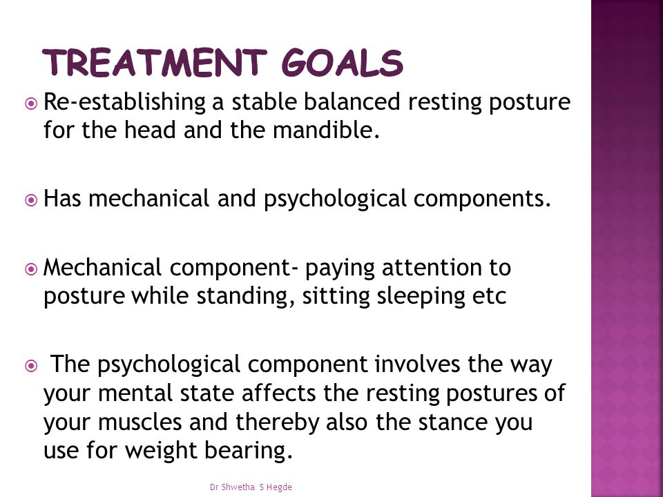 Re-establishing a stable balanced resting posture for the head and the mandible.