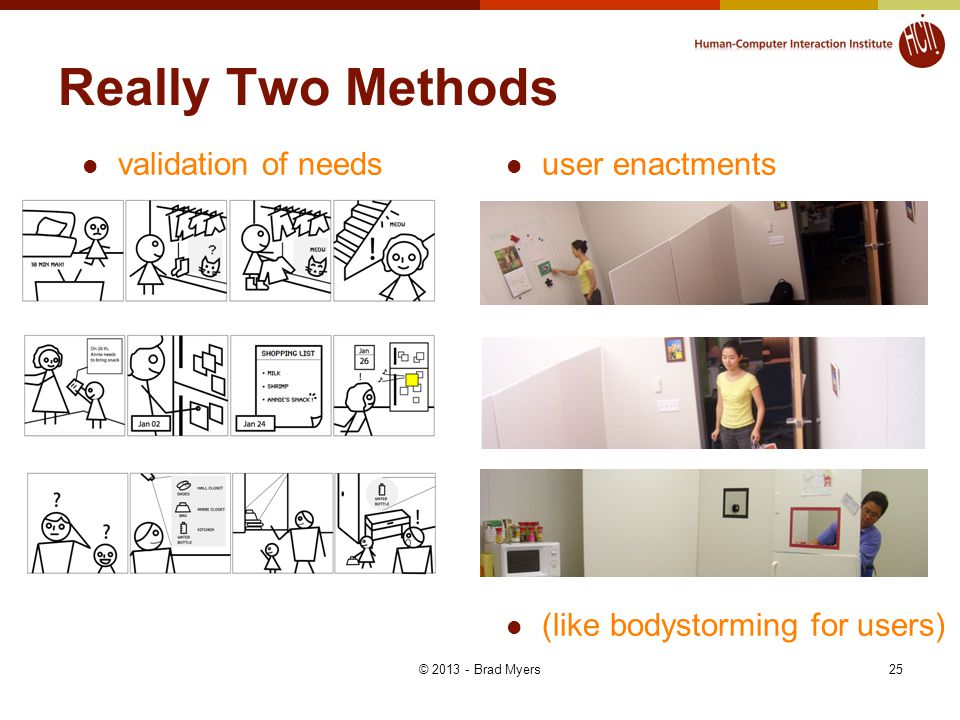 Really Two Methods validation of needs user enactments (like bodystorming for users) 25© 2013 - Brad Myers