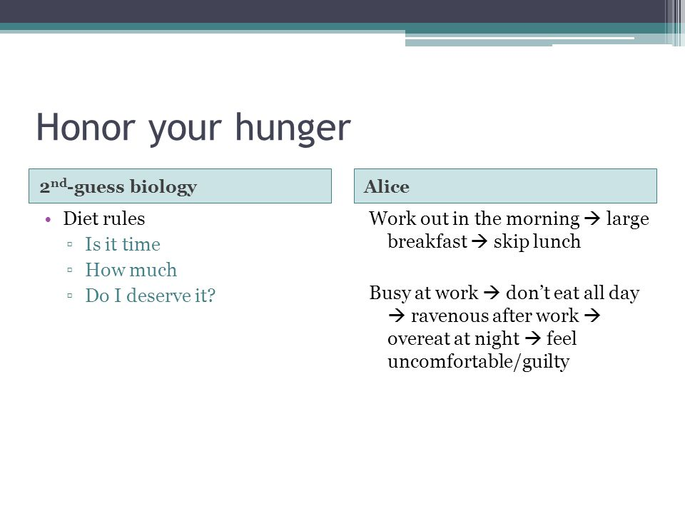 Honor your hunger 2 nd -guess biologyAlice Diet rules ▫Is it time ▫How much ▫Do I deserve it.