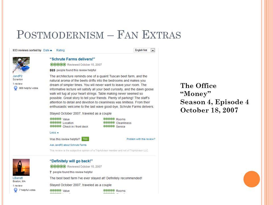 P OSTMODERNISM – F AN E XTRAS The Office Money Season 4, Episode 4 October 18, 2007
